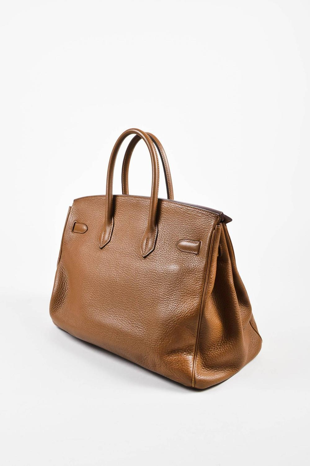 replica hermes - Hermes Alezan Brown Clemence Leather Silver Tone Hardware 35 cm ...