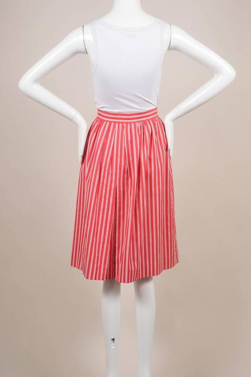 Vintage Saint Laurent Red White Twill Knit Pinstripe Pleated Skirt SZ 42 2