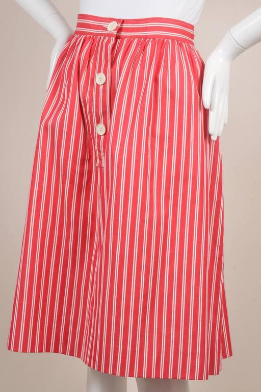Vintage Saint Laurent Red White Twill Knit Pinstripe Pleated Skirt SZ 42 3