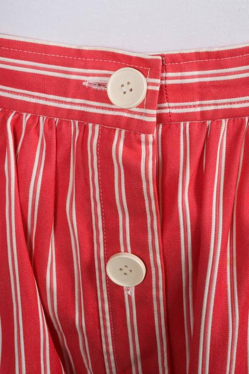 Vintage Saint Laurent Red White Twill Knit Pinstripe Pleated Skirt SZ 42 4