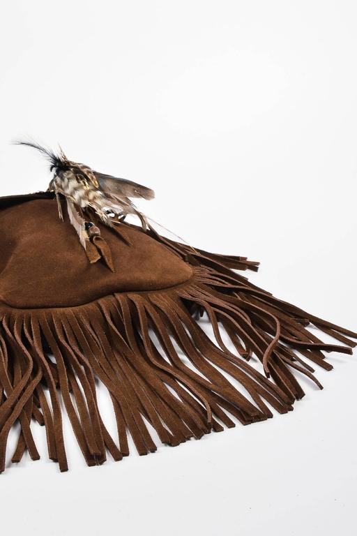 Saint Laurent Brown Suede Fringe Feather Quot Anita Quot Flat Bag
