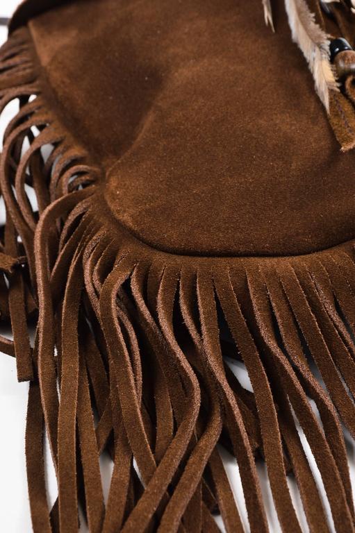 Saint Laurent Brown Suede Fringe Feather Quot Anita Quot Flat Bag