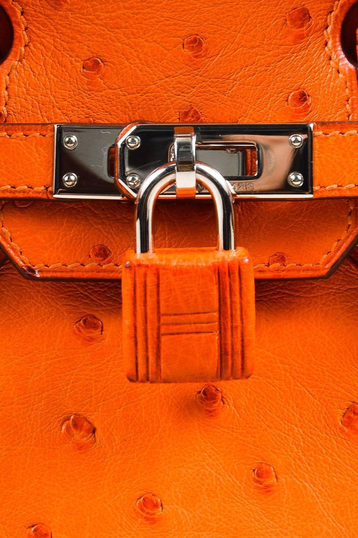 knock off birkin bag - Hermes Tangerine Genuine Ostrich Silver Tone Hardware 25 cm Birkin ...