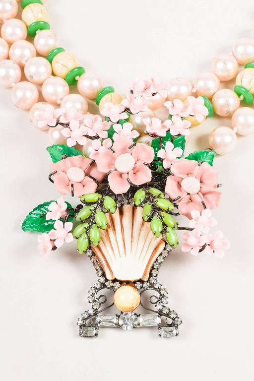 Lawrence VRBA Pink/Green Faux Pearl Flower Basket Large Pendant Necklace 2