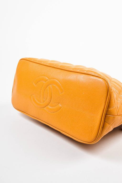 Vintage Chanel Orange Quilted Caviar Leather Quilted Shoulder Bag 4