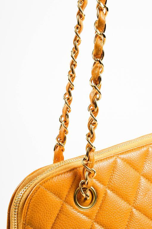Vintage Chanel Orange Quilted Caviar Leather Quilted Shoulder Bag 3