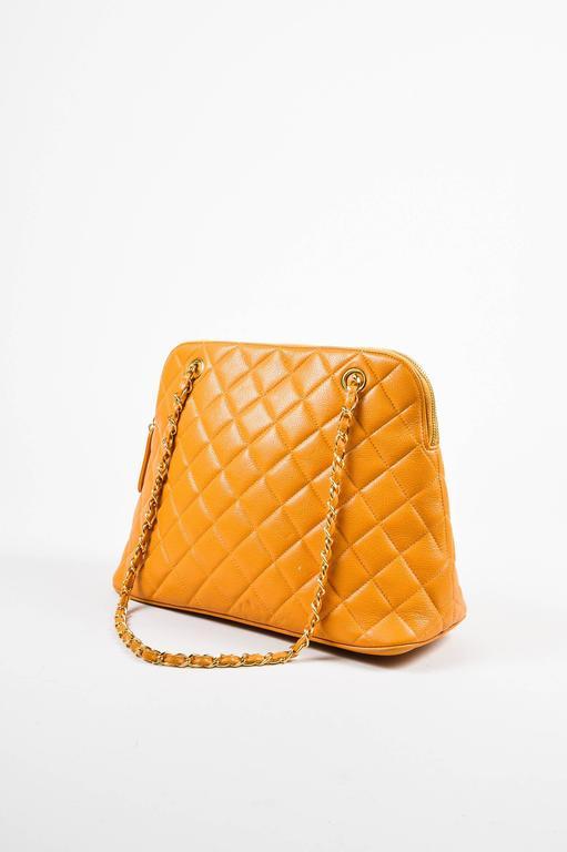 Vintage Chanel Orange Quilted Caviar Leather Quilted Shoulder Bag 2