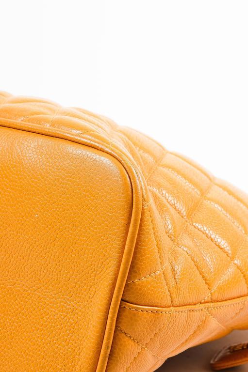 Vintage Chanel Orange Quilted Caviar Leather Quilted Shoulder Bag 5