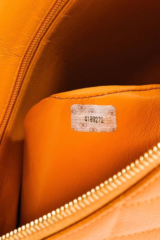 Vintage Chanel Orange Quilted Caviar Leather Quilted Shoulder Bag 7