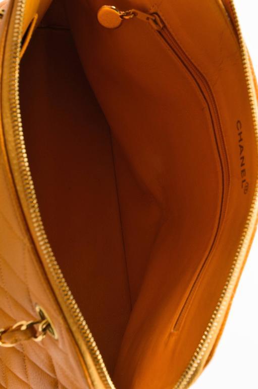 Vintage Chanel Orange Quilted Caviar Leather Quilted Shoulder Bag 6