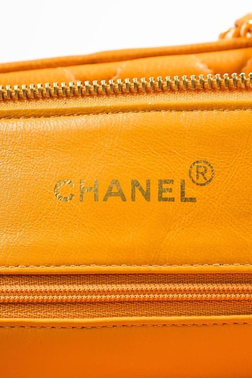 Vintage Chanel Orange Quilted Caviar Leather Quilted Shoulder Bag 8