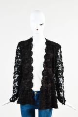 Vintage Yves Saint Laurent Black Brown Sheer Ribbon Lace Long Sleeve Top SZ 36