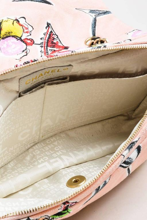 Chanel Pink GHW Printed Canvas Ice Cream Sundaes Collection 'CC' Flap Bag 6