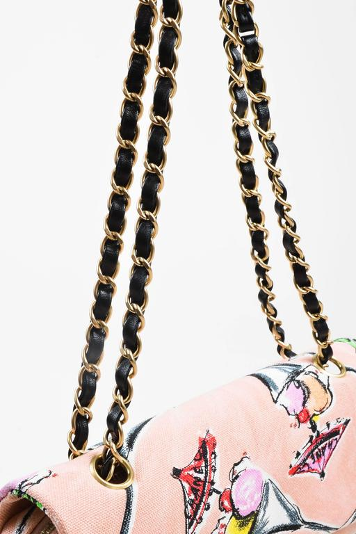Chanel Pink GHW Printed Canvas Ice Cream Sundaes Collection 'CC' Flap Bag 5