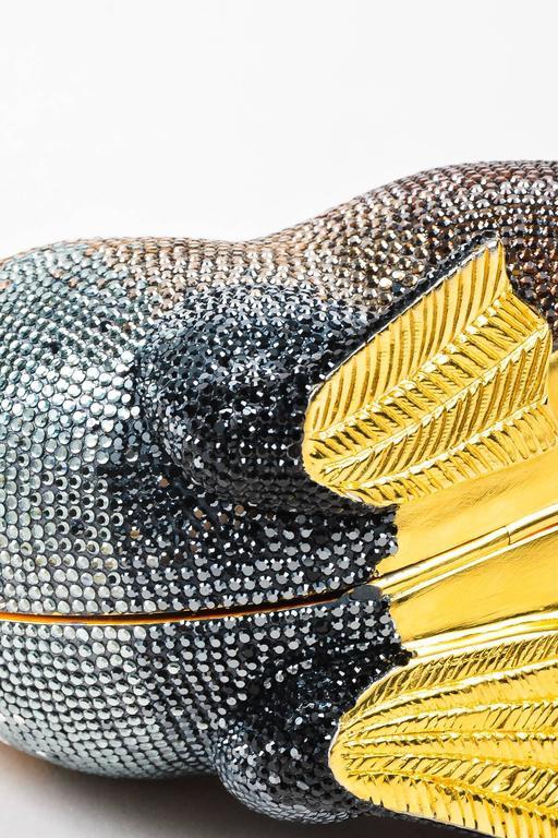 Judith Leiber Tan Brown Black Crystal Rhinestone Seal Miniaudiere Clutch Bag 5
