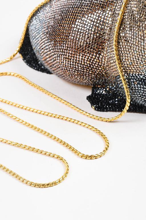 Judith Leiber Tan Brown Black Crystal Rhinestone Seal Miniaudiere Clutch Bag 3