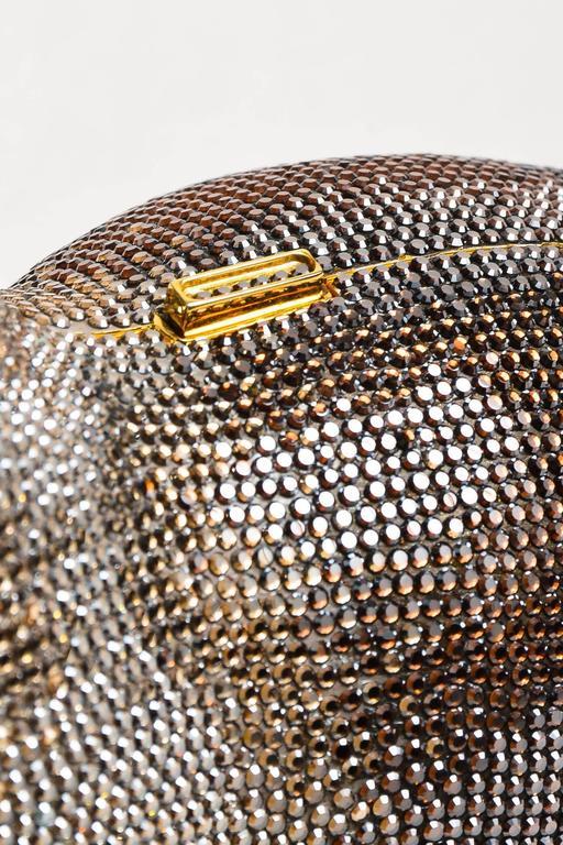 Judith Leiber Tan Brown Black Crystal Rhinestone Seal Miniaudiere Clutch Bag 6