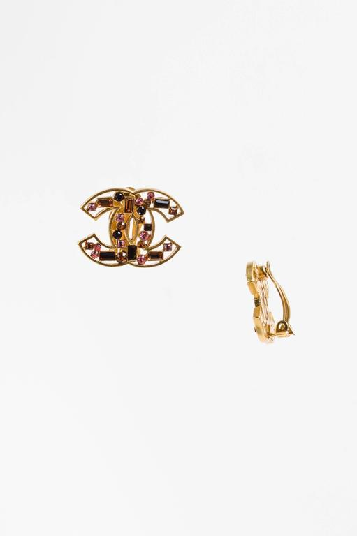 Chanel 03A Gold Tone Brown Pink Crystal Embellished 'CC' Clip On Earrings 3