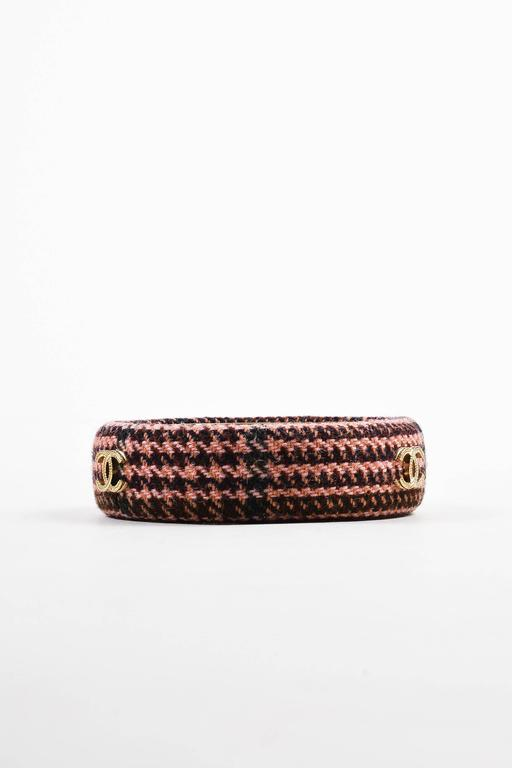 Chanel Fall Collection Pink Brown Tweed Gold Tone 'CC' Bangle Bracelet SZ M 2
