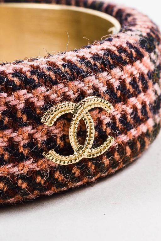 Chanel Fall Collection Pink Brown Tweed Gold Tone 'CC' Bangle Bracelet SZ M 3