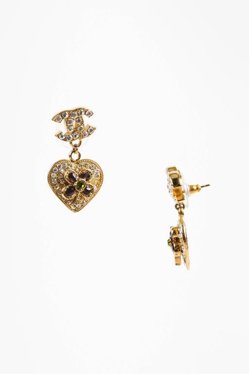 Chanel 05P Gold Tone & Green Crystal & Gripoix Heart & Clover 'CC' Drop Earrings 3