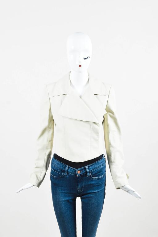 "Chanel 02P Cream Pebbled Leather Silver Tone ""CC"" Button LS Jacket SZ 38 2"