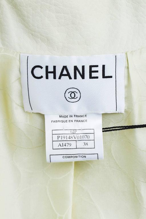"Chanel 02P Cream Pebbled Leather Silver Tone ""CC"" Button LS Jacket SZ 38 5"