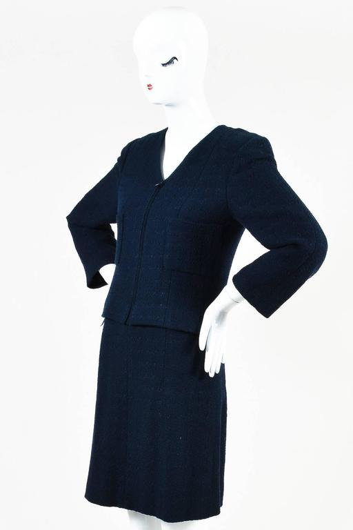 Chanel Navy Blue Boucle Tweed Zip Long Sleeve Jacket A Line Skirt Suit Set SZ 40 2