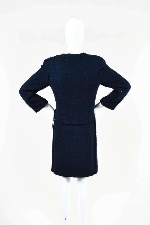 Chanel Navy Blue Boucle Tweed Zip Long Sleeve Jacket A Line Skirt Suit Set SZ 40 3