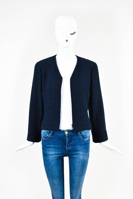 Chanel Navy Blue Boucle Tweed Zip Long Sleeve Jacket A Line Skirt Suit Set SZ 40 4