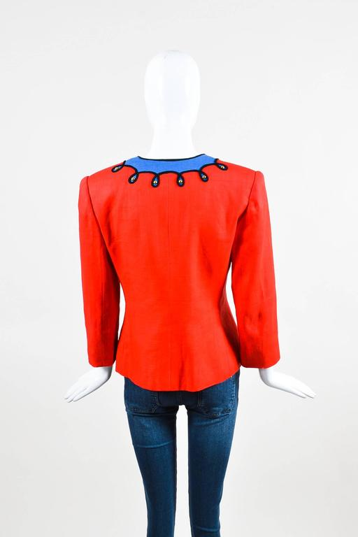 Vintage Givenchy Nouvelle Boutique Red Blue Embroidered Stud LS Jacket 3