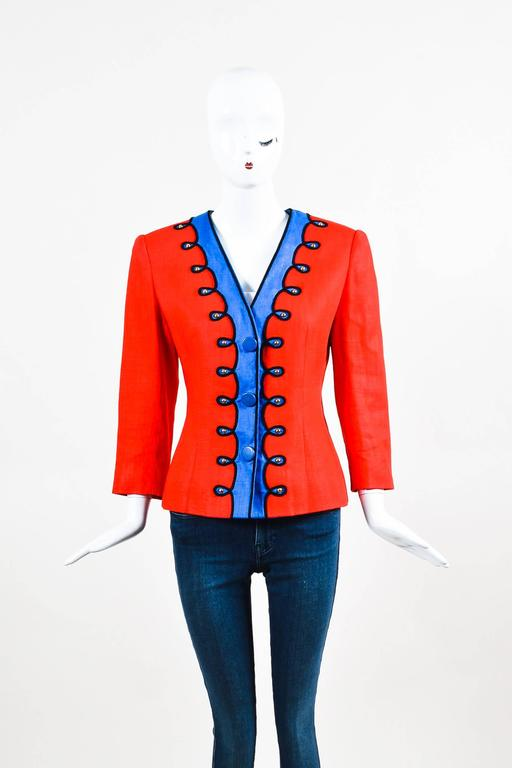 Vintage Givenchy Nouvelle Boutique Red Blue Embroidered Stud LS Jacket 2