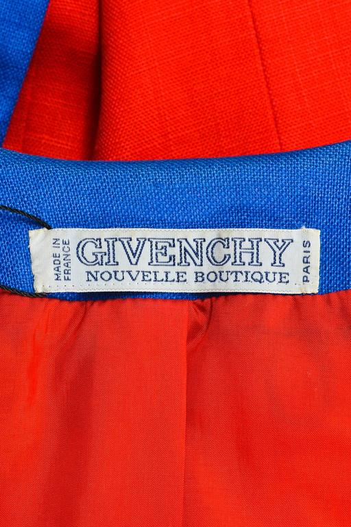 Vintage Givenchy Nouvelle Boutique Red Blue Embroidered Stud LS Jacket 5