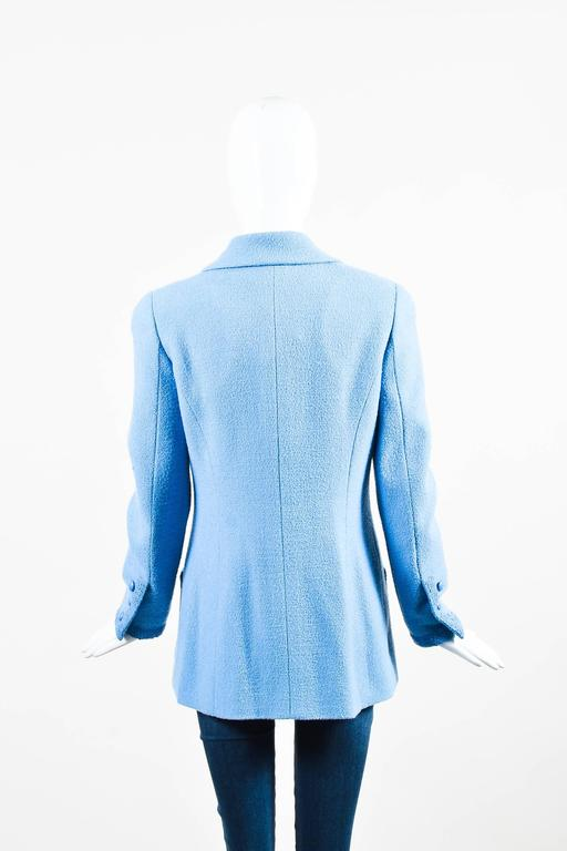 Chanel Boutique Baby Blue Wool Double Breasted Four Pocket LS Jacket SZ 40 3