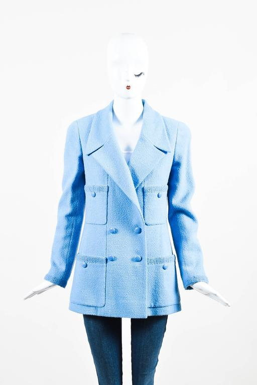 Chanel Boutique Baby Blue Wool Double Breasted Four Pocket LS Jacket SZ 40 2