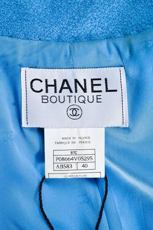 Chanel Boutique Baby Blue Wool Double Breasted Four Pocket LS Jacket SZ 40 5