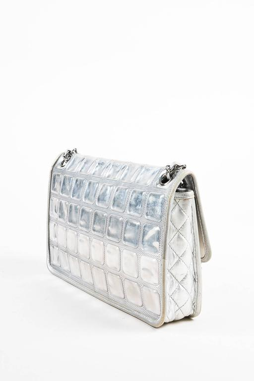 """Chanel Silver Metallic Leather Coated """"Ice Cube"""" Classic Flap Shoulder Bag 2"""