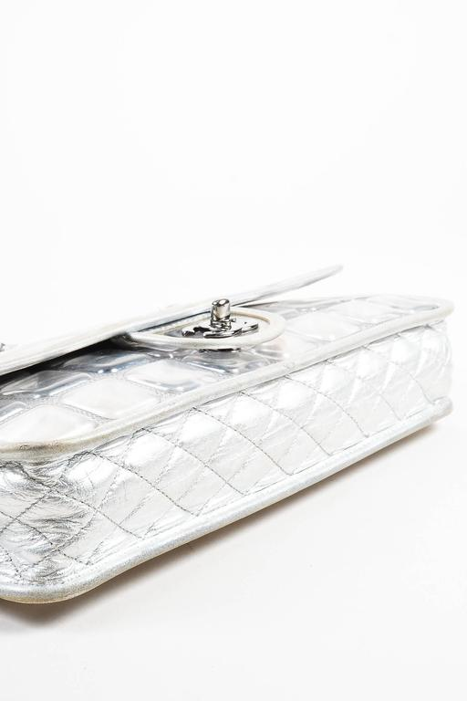 """Chanel Silver Metallic Leather Coated """"Ice Cube"""" Classic Flap Shoulder Bag 3"""