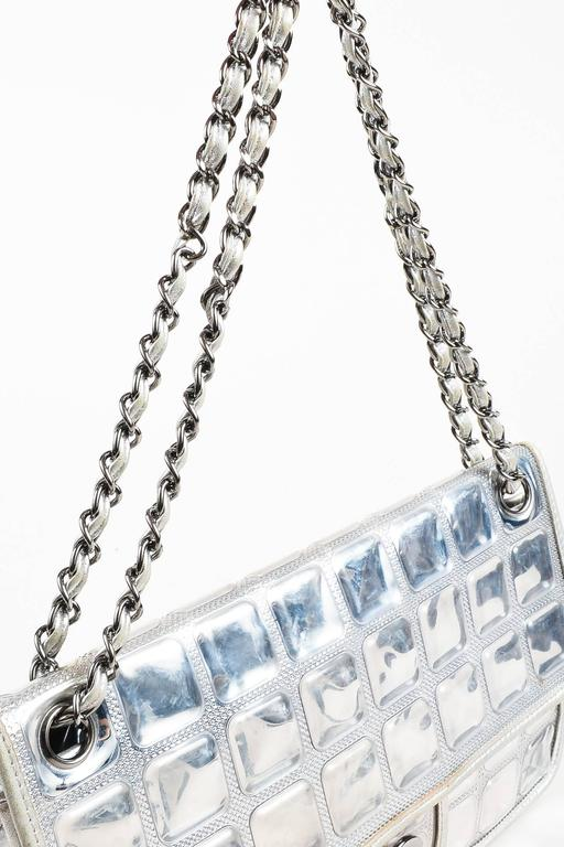 """Chanel Silver Metallic Leather Coated """"Ice Cube"""" Classic Flap Shoulder Bag 5"""