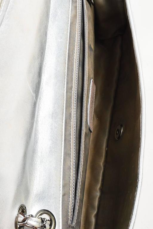 """Chanel Silver Metallic Leather Coated """"Ice Cube"""" Classic Flap Shoulder Bag 7"""