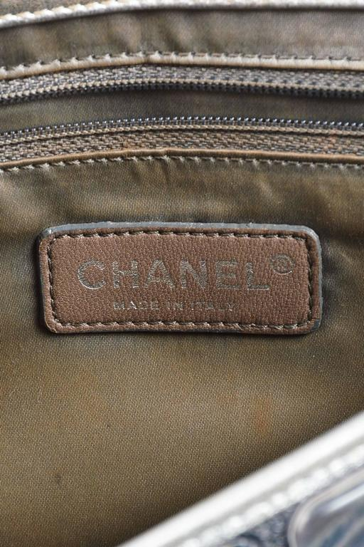 """Chanel Silver Metallic Leather Coated """"Ice Cube"""" Classic Flap Shoulder Bag 8"""