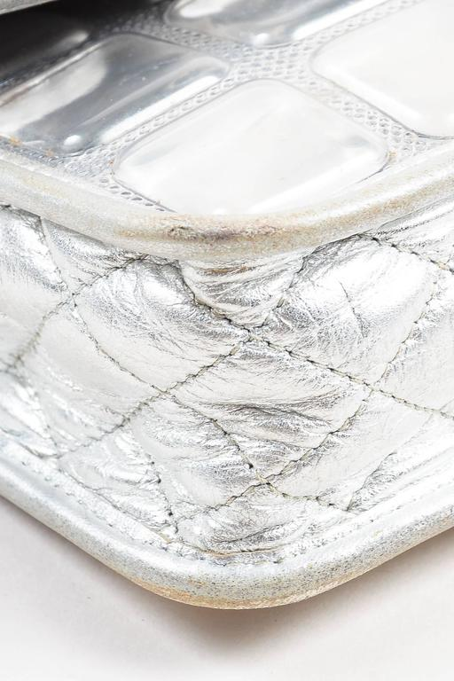 """Chanel Silver Metallic Leather Coated """"Ice Cube"""" Classic Flap Shoulder Bag 4"""