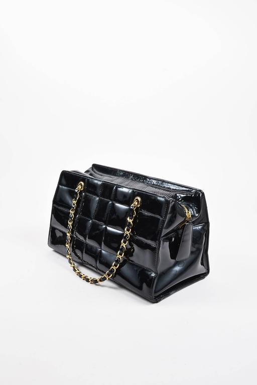Chanel Black Patent Leather Quot Chocolate Bar Quot Quilted Gold