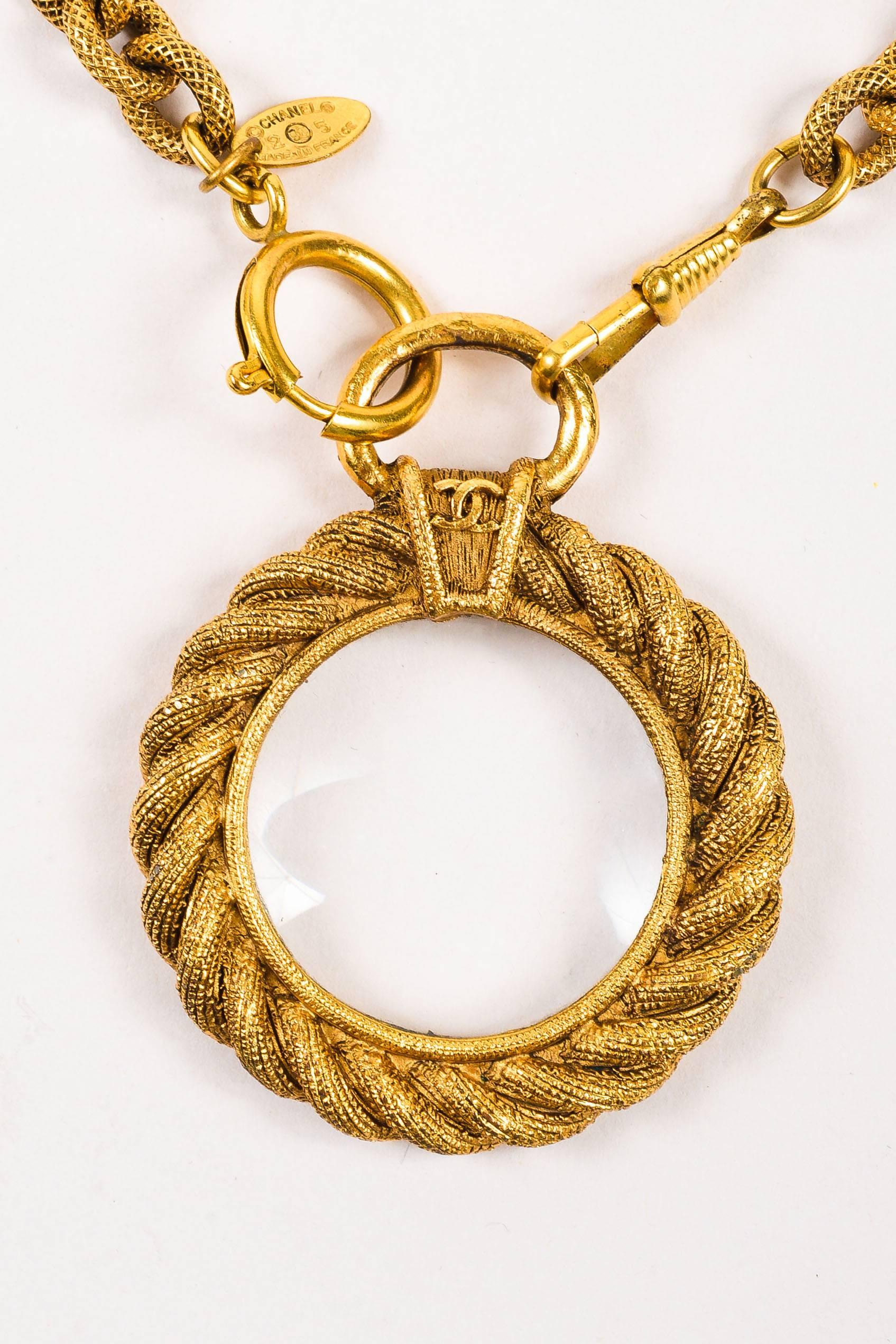 Vintage chanel gold tone etched link chain magnifying glass pendant vintage chanel gold tone etched link chain magnifying glass pendant necklace for sale at 1stdibs aloadofball Choice Image