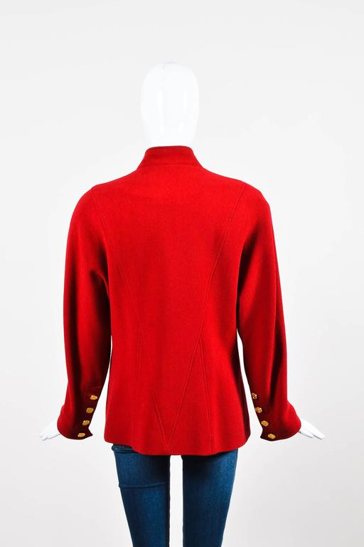 Chanel Red Gold Tone Wool Coin Button Stand Up Collar LS Jacket 3