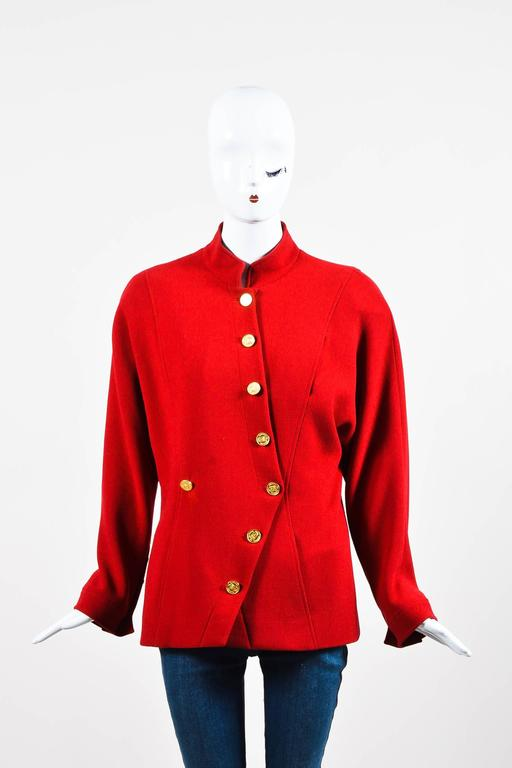 Chanel Red Gold Tone Wool Coin Button Stand Up Collar LS Jacket 2