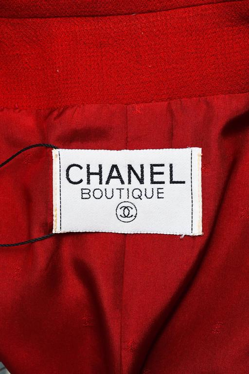 Chanel Red Gold Tone Wool Coin Button Stand Up Collar LS Jacket 5