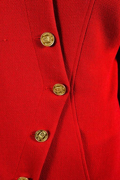 Chanel Red Gold Tone Wool Coin Button Stand Up Collar LS Jacket 4