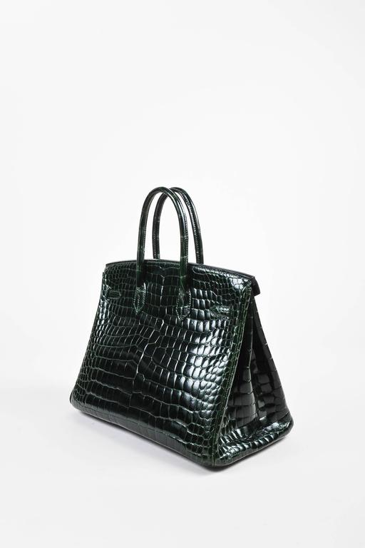 "Hermes Vert Fonce Crocodile Porosus Shiny Palladium Hardware ""Birkin"" 35 cm Bag 2"