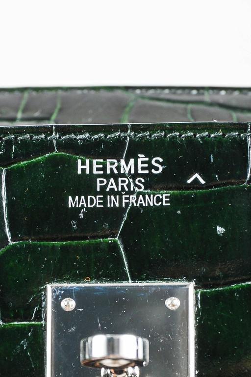 "Hermes Vert Fonce Crocodile Porosus Shiny Palladium Hardware ""Birkin"" 35 cm Bag 7"